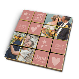 Choklad som bröllopspresent - Med egna foton